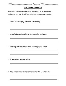 Run On Sentences Quiz