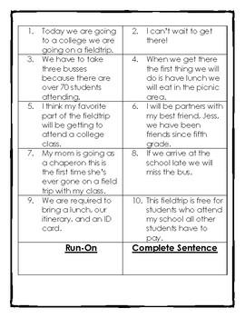 Run-On Sentences Sort