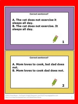 Run-On Sentences Task Cards