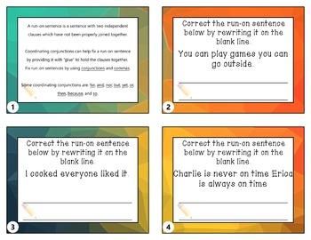 Run-On Sentences Taskcards