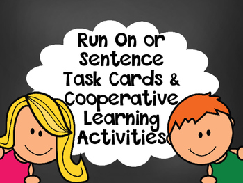 Run-On Sentences-VS-Complete Sentences Task Cards &Cooperative Activity FREEBIE
