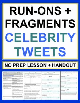 Run On Sentences And Fragments Celebrity Tweets Grammar Worksheet