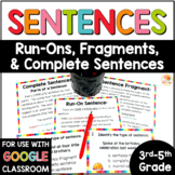 Run-On Sentences and Fragments Activities | Complete Sentences Task Cards