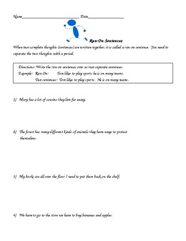 Run-On Sentences for 3rd and 4th