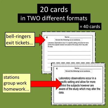 Run-On Task Cards for the Secondary Student