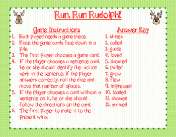 Run, Run Rudolph! Verb Board Game