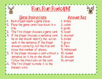 Run, Run Rudolph! Verb Board Game