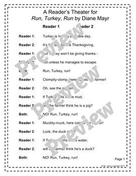 Run, Turkey, Run! - by Diane Mayr - A Thanksgiving Reader's Theater