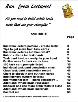 Run from Lectures with 100 Brain Based Task Cards