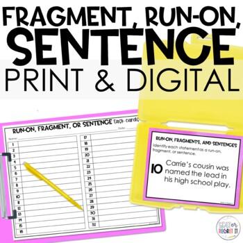 Sentence, fragment, or run-on? Task Cards