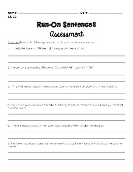 Run-on Sentence Assessment