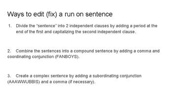 Run on Sentence Relay