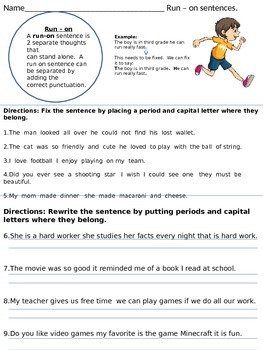 Run-on Sentences 3rd grade