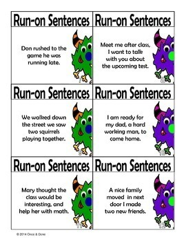 Run-on Sentences Activity and Game