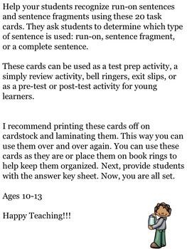 Identifying Sentence Errors Task Cards Upper Elementary/Middle School Students