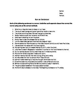 Run-on Sentences Worksheet