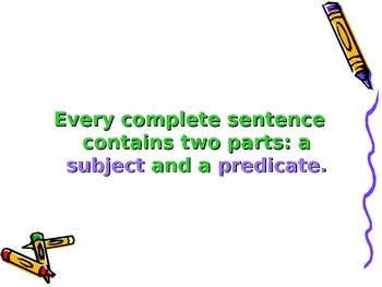 Run on Sentences and Complete Sentences (Subject Predicate) Powerpoint