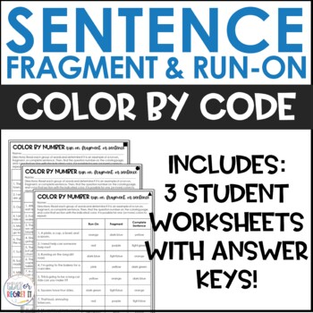 Sentence, fragment, or run-on? Color by Number