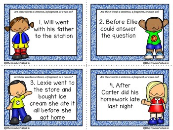 Run-ons, Fragments, and Complete Sentences Digital and Hard Copy Task Cards
