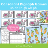 Digraphs Games Runaway Rabbit - Phonics Literacy Centers