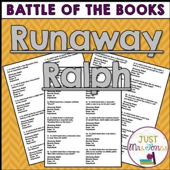 Runaway Ralph Battle of the Books Trivia Questions