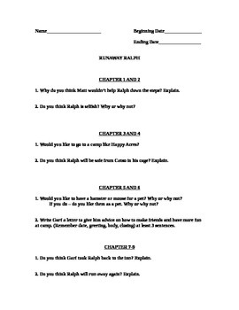 Runaway Ralph Comprehension Questions