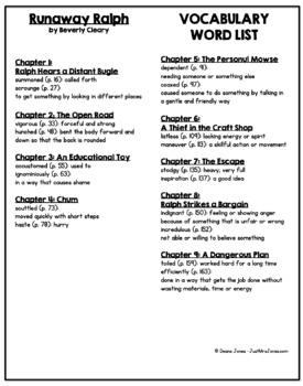 Runaway Ralph Vocabulary Word List