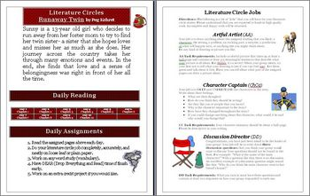 Runaway Twin Literature Circle Activity, Vocabulary & Projects