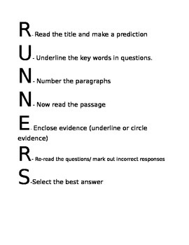Runner Reading Comprehension Strategy Poster