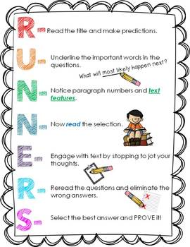 Runner's Poster for Test taking strategies (Freebie)