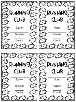 Running Club Stamp Cards