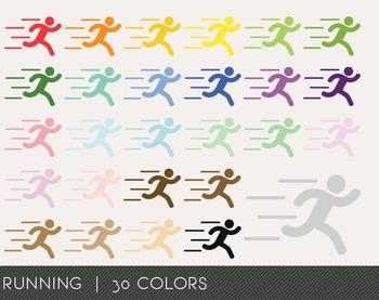 Running Digital Clipart, Running Graphics, Running PNG, Rainbow Running
