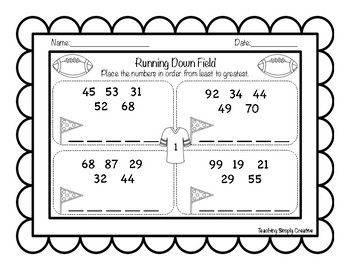 Football themed ordering two digit numbers