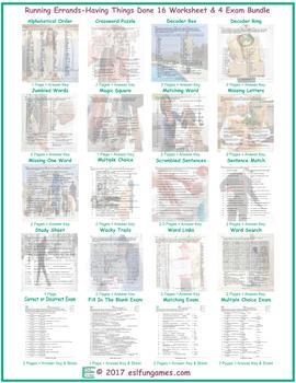 Running Errands-Having Things Done 16 Worksheet- 4 Exam Bundle