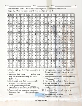 Running Errands-Having Things Done Word Search Worksheet