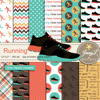 Running Fitness Exercise Digital Papers and Clipart