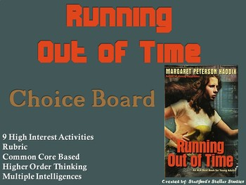 Running Out of Time Choice Board Novel Study Activities Menu Book Project