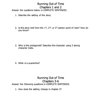 Running Out of Time by M. Haddix Unit and PowerPoint Trivia Review