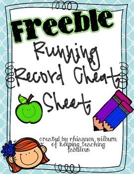 Running Record Cheat Sheet