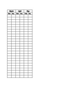 Running Record Data sheet