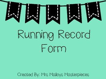 Running Record Form FREEBIE