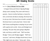 Running Record Form for Henry and Mudge and the Starry Night