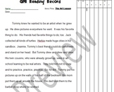 Running Record Form for The Art Lesson
