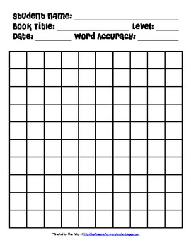 Running Record Form with 100 Boxes for Guided Reading by kilbycrew