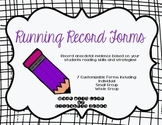 Running Record Forms for Reading: Individual, Small Group, and Whole Group