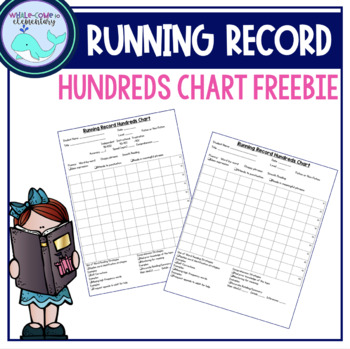 Running Record Hundreds Chart By Whale-Come To 2Nd Grade | Tpt