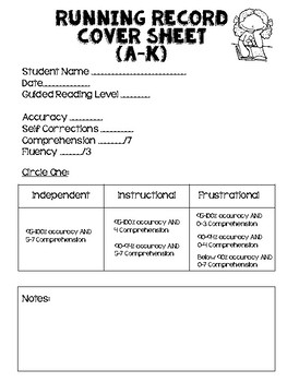 Running Record Levels A-K Template and Reading Level Algorithms Freebie