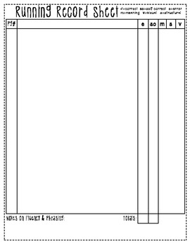 Running Record Sheet (double sided) {FREE}