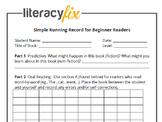 Running Record Template - Beginning Readers