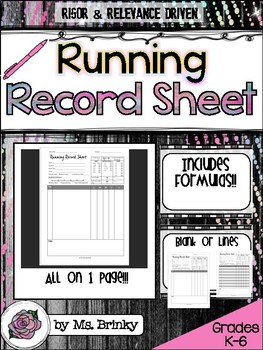 Running Record Template Form